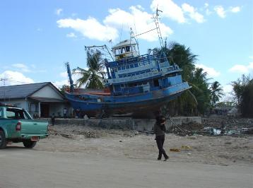 This trawler looked almost undamaged but it came to rest 500 mts in land