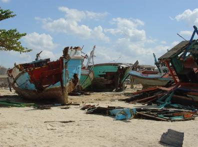 Damaged fishing boats were every where